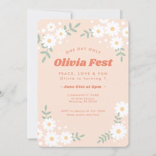 Daisy Flower Peach Music Festival Birthday Invitation
