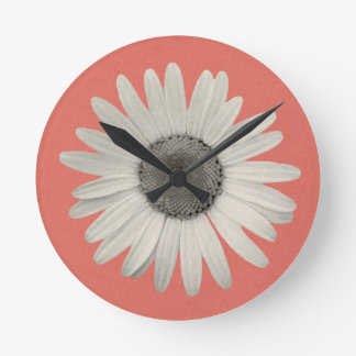 Daisy Flower Pop of Color Coral Pink Round Clock
