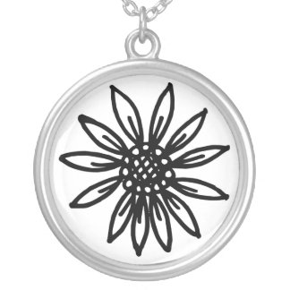 daisy flower round pendant necklace