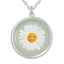 Daisy Flower Smiley Face Silver Plated Necklace