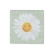 Daisy Flower Smiley Face Stone Magnet