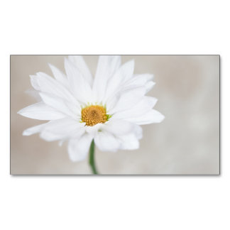 Daisy Flower White Yellow Daisies Blossom Floral Magnetic Business Card