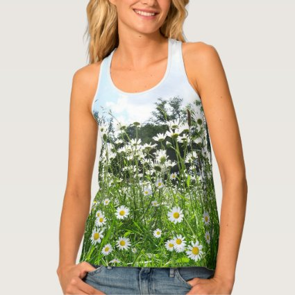 Daisy Flowers All over Printed Tank Top