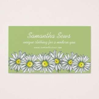 Daisy Flowers Drawing Celery Green Business Card