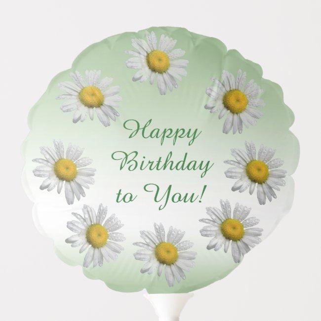 Daisy Flowers Floral Pattern Birthday Balloon