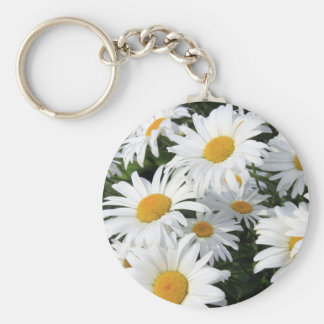 Daisy Flowers Growing White Keychain