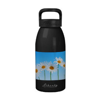 Daisy flowers on blue background reusable water bottle