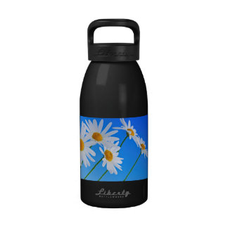 Daisy flowers on blue background reusable water bottles