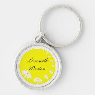 Daisy Flowers Passion Inspirational Quote Keychain