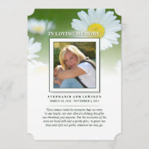 Daisy Flowers Photo Memorial Card - Poem of Life