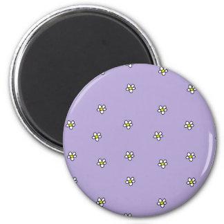 Daisy Flowers Purple Pattern 2 Inch Round Magnet