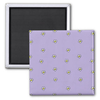 Daisy Flowers Purple Pattern 2 Inch Square Magnet