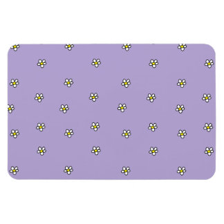Daisy Flowers Purple Pattern Rectangular Photo Magnet