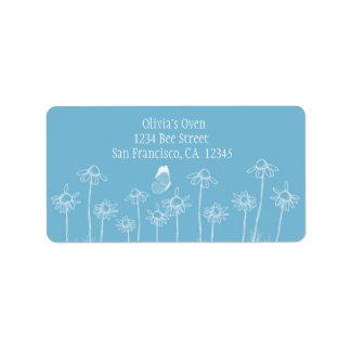 Daisy Flowers White Butterfly Blue Label