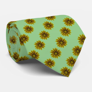 daisy flowers yellow and red design neck tie
