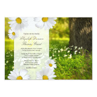 Daisy Frame with Meadow Photo Wedding Invitation