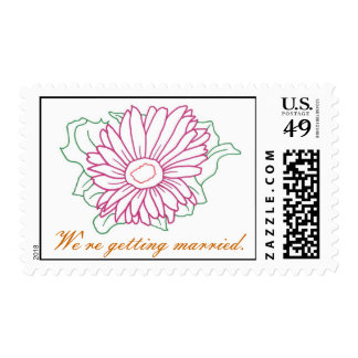 Daisy fuchsia flower, We're getting married stamps