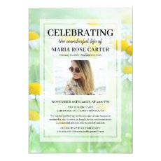 Daisy Funeral | Celebrate Life Memorial Photo Invitation