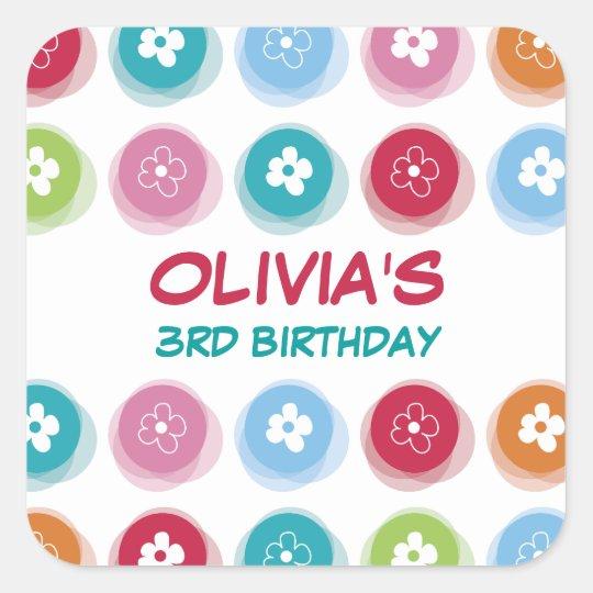 Daisy Fuzzy Color Dots Girl Birthday Party Sticker