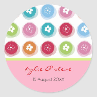 Daisy Fuzzy Color Dots Save-the-Date /Seal /Favors Sticker