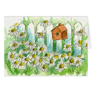 Daisy Garden Birdhouse Watercolor Flowers Blank Card