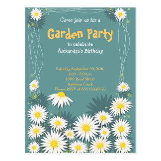 Daisy Garden Birthday Party Invitation 2 Post Cards