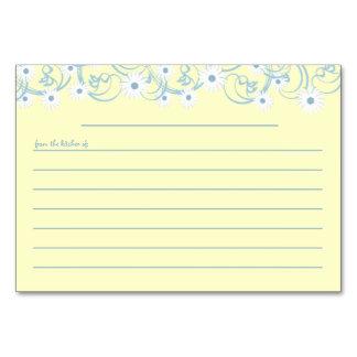 Daisy Garden Blue Recipe Card Table Cards