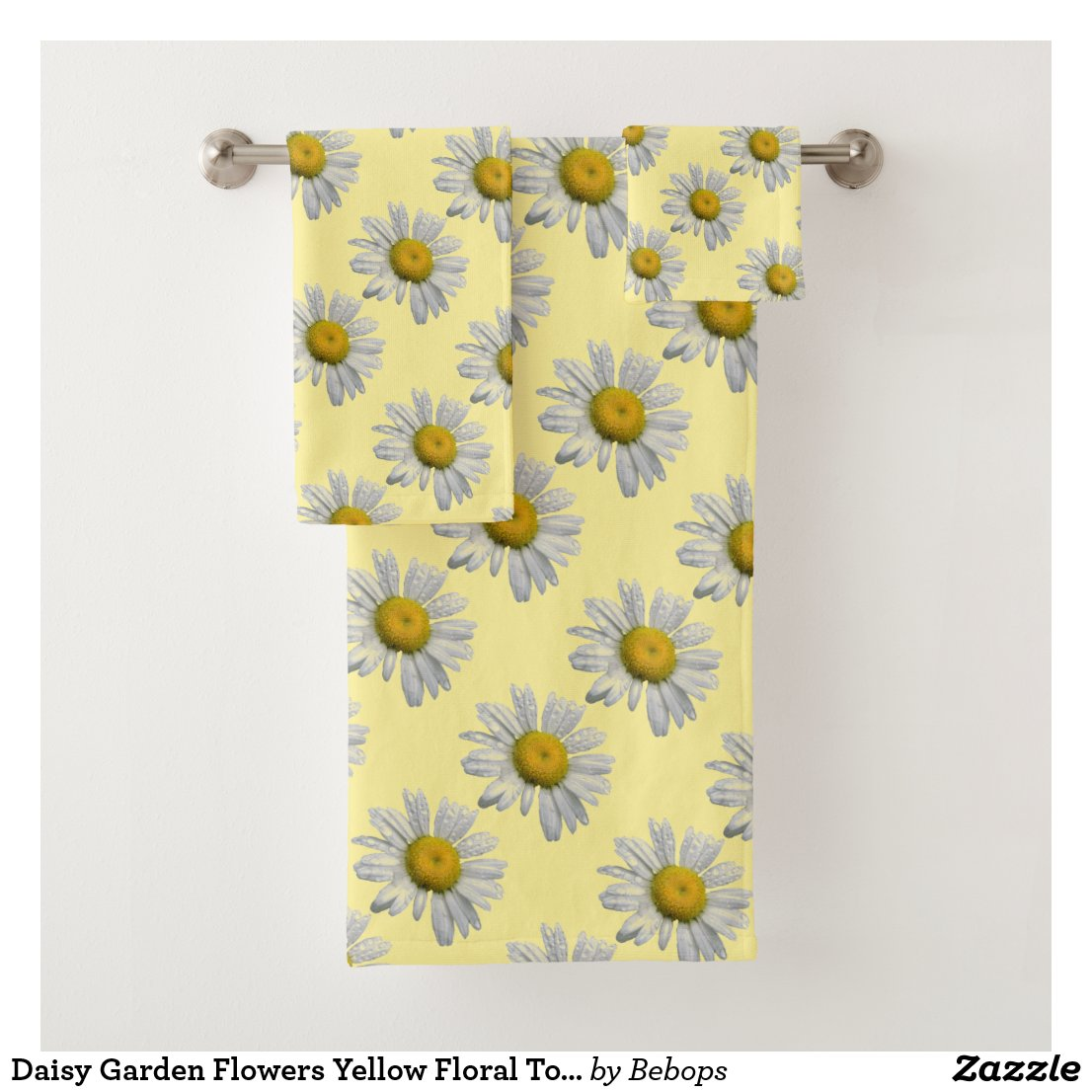 Daisy Garden Flowers Yellow Floral Towel Set