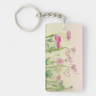 """Daisy  Gift Keychain """"Thanks Mom!"""" for Mothersday"""