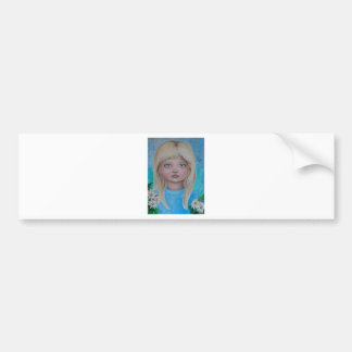 Daisy girl blonde blu eye girl flower car bumper sticker