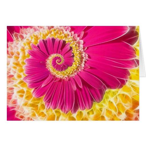 Daisy-heart fractal greeting card tarjeton
