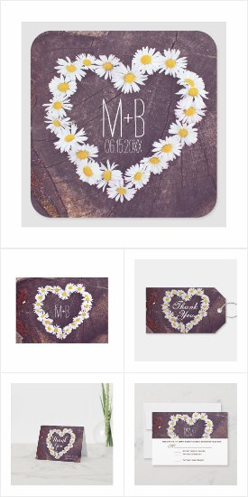 Daisy Heart Rustic Wood Wedding Invitation Set