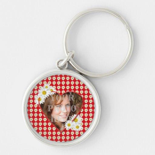 Daisy Hearty Valentine Photo Round Keychain
