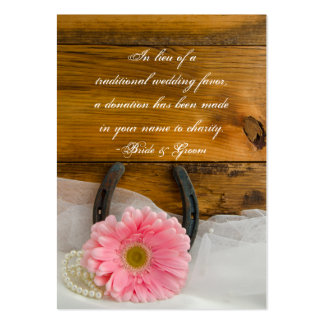 Daisy Horseshoe Country Wedding Charity Favor Card