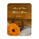 Daisy Horseshoe Country Wedding Save the Date Magnets