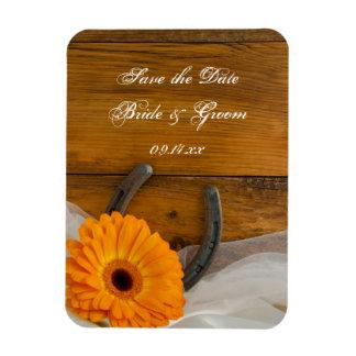 Daisy Horseshoe Country Wedding Save the Date Rectangular Photo Magnet