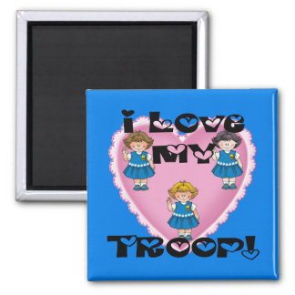 Daisy I Love My Troop Heart 2 Inch Square Magnet