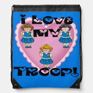 Daisy I Love My Troop Heart Drawstring Backpack