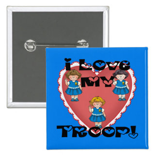 Daisy I Love My Troop Heart Pinback Button