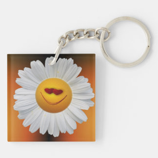 Daisy in love acrylic keychain