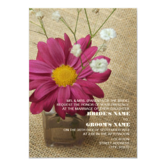 Daisy In Vintage Apothecary Bottle Burlap Wedding Card