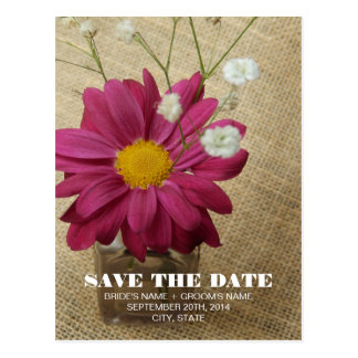 Daisy In Vintage Apothecary Bottle Save The Date Postcard