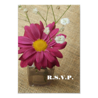 Daisy In Vintage Apothecary Bottle Wedding RSVP Card