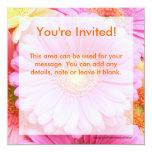 "Daisy Invitations - Pink Gerber Daisy 5.25"" Square Invitation Card"