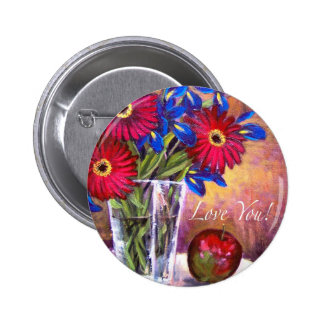 Daisy Iris Flowers Vase Painting Art - Multi Buttons