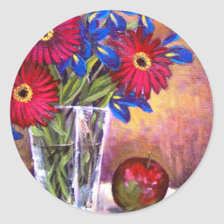 Daisy Iris Flowers Vase Painting Art - Multi Classic Round Sticker