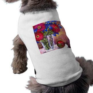 Daisy Iris Flowers Vase Painting Art - Multi Pet T Shirt