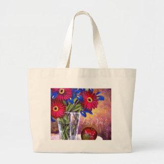 Daisy Iris Flowers Vase Painting Art - Multi Large Tote Bag