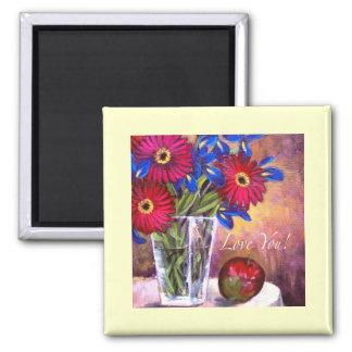 Daisy Iris Flowers Vase Painting Art - Multi Magnet