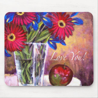 Daisy Iris Flowers Vase Painting Art - Multi Mouse Pad